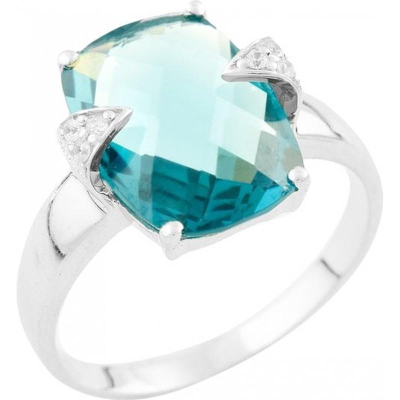 Серебряное кольцо SilverBreeze с натуральным топазом Лондон Блю (1535080) 19 размер