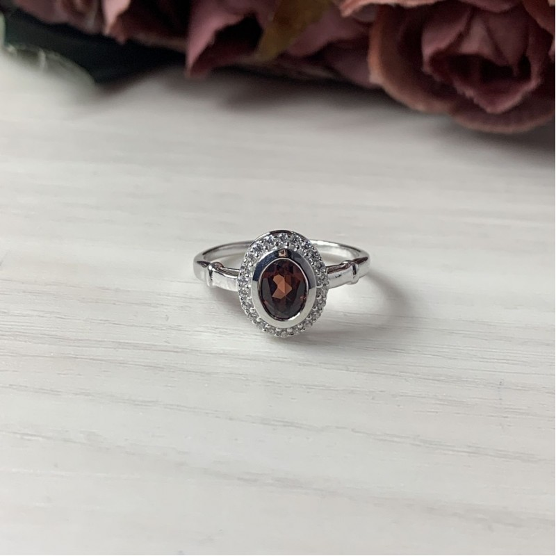 Серебряное кольцо SilverBreeze с натуральным гранатом 1.255ct (1512814) 17.5 размер