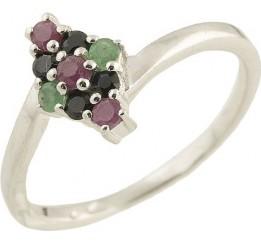 Серебряное кольцо SilverBreeze с натуральным изумрудом, сапфиром, рубином (1202210) 17.5 размер