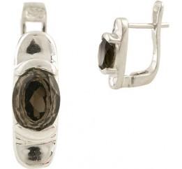 Серебряные серьги SilverBreeze с натуральным раухтопазом (димчатим кварцем) (1186695)