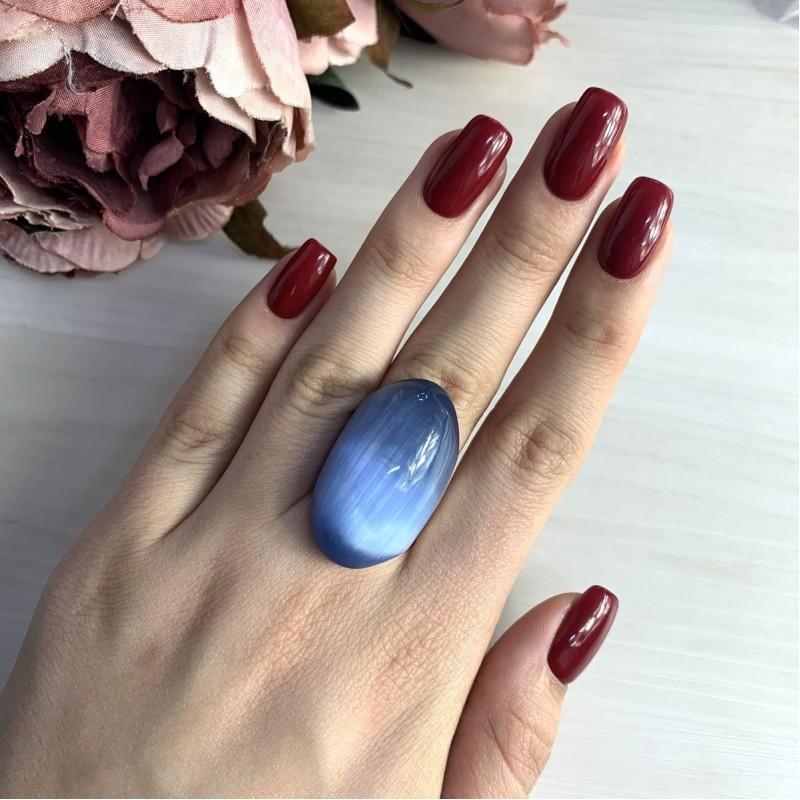 Серебряное кольцо SilverBreeze с кошачим глазом (1153772) 17 размер
