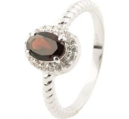 Серебряное кольцо SilverBreeze с натуральным гранатом (1134160) 17.5 размер
