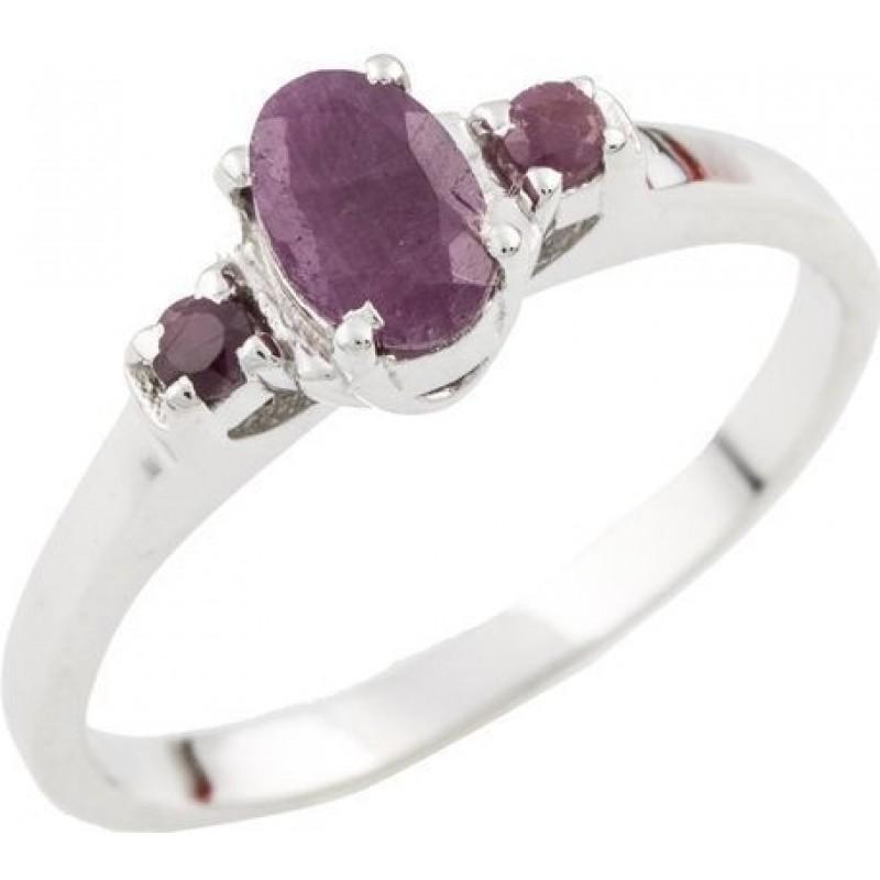 Серебряное кольцо SilverBreeze с натуральным рубином (1087435) 17 размер