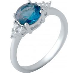 Серебряное кольцо SilverBreeze с натуральным топазом Лондон Блю 1.23ct (1074220) 17.5 размер