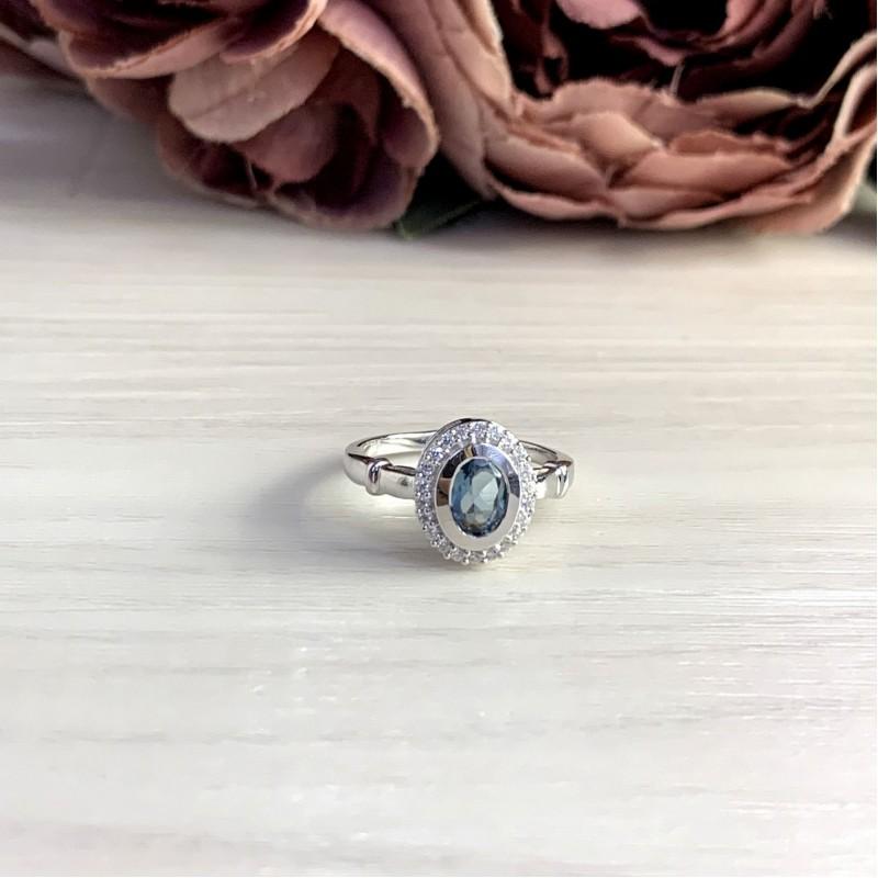 Серебряное кольцо SilverBreeze с натуральным топазом Лондон Блю 0.86ct (1073674) 17 размер