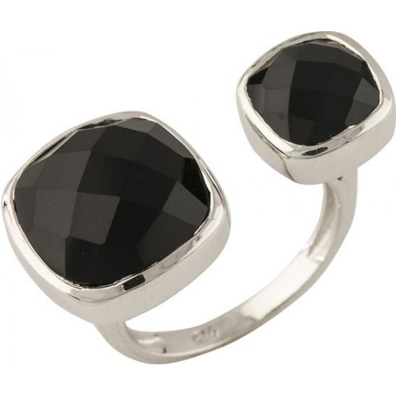 Серебряное кольцо SilverBreeze с натуральным ониксом (0955407) 18 размер