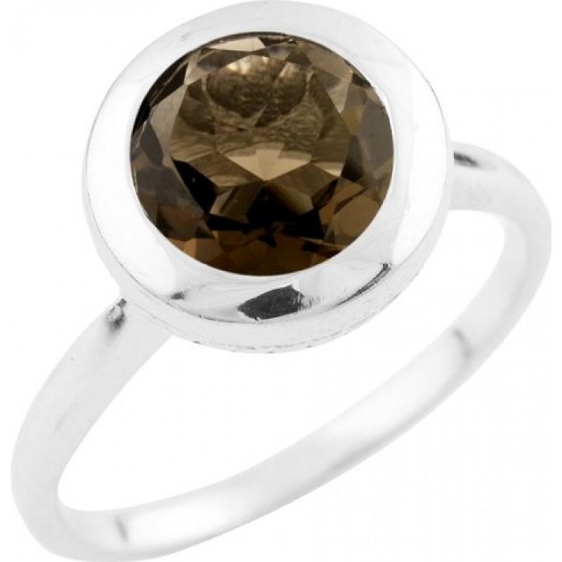 Серебряное кольцо SilverBreeze с натуральным раухтопазом (димчатим кварцем) (0920306) 18 размер