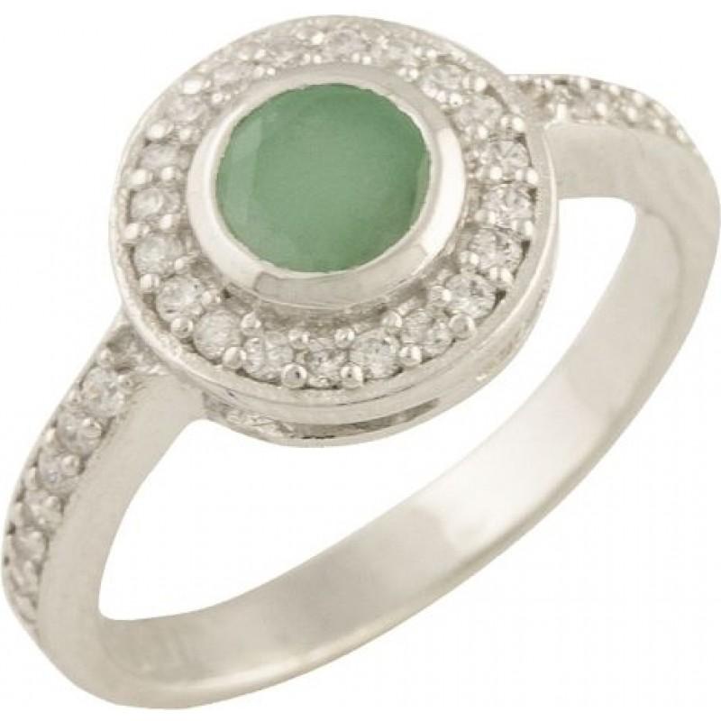 Серебряное кольцо SilverBreeze с натуральным изумрудом (0862576) 17 размер