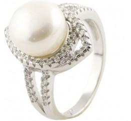 Серебряное кольцо SilverBreeze с натуральным жемчугом (0491400) 17.5 размер