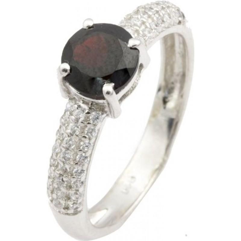 Серебряное кольцо SilverBreeze с натуральным гранатом (0477954) 17.5 размер
