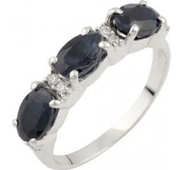 Серебряное кольцо SilverBreeze с натуральным сапфиром (0467405) 17 размер