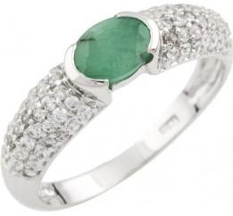 Серебряное кольцо SilverBreeze с натуральным изумрудом (0465845) 17.5 размер