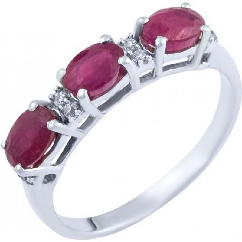 Серебряное кольцо SilverBreeze с натуральным рубином (0382951) 18 размер