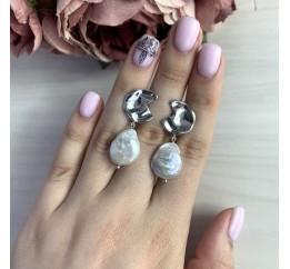 Серебряные серьги SilverBreeze с натуральным жемчугом барочным (2044628)