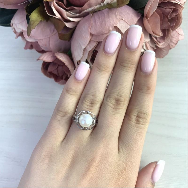 Серебряное кольцо SilverBreeze с натуральным жемчугом (2044017) 18.5 размер