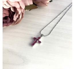 Серебряный крестик SilverBreeze с рубином (2013099)