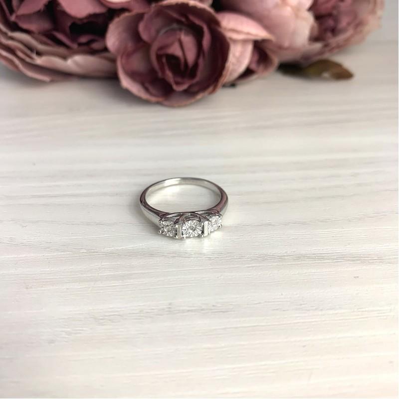 Серебряное кольцо SilverBreeze с натуральными бриллиантом 0.03ct (2075691) 17.5 размер