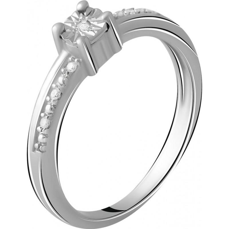 Серебряное кольцо SilverBreeze с натуральными бриллиантом 0.05ct (2048602) 17.5 размер