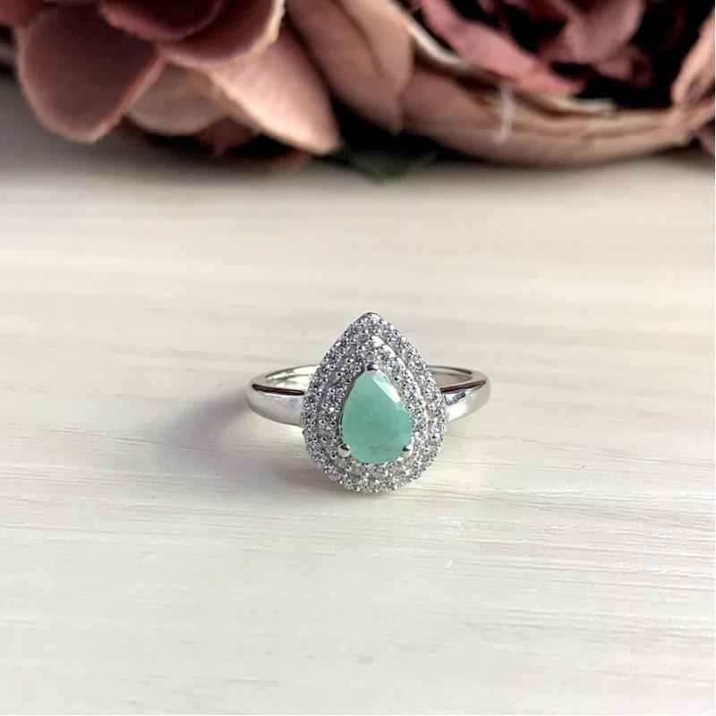 Серебряное кольцо SilverBreeze с натуральным изумрудом 0.52ct (2051480) 16.5 размер