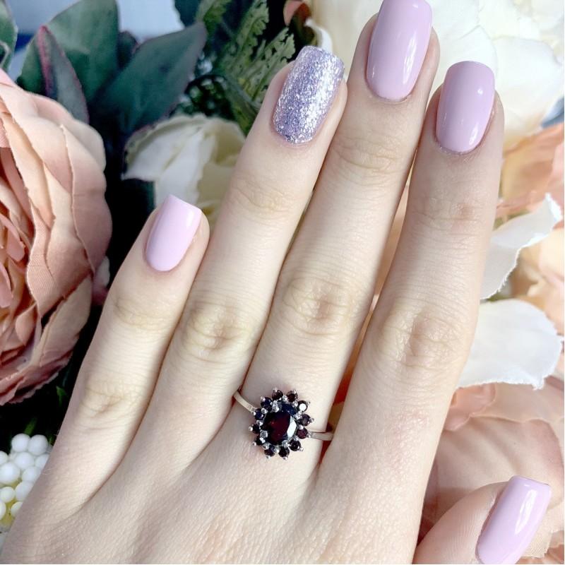 Серебряное кольцо SilverBreeze с натуральным гранатом 1.8ct (1965535) 17.5 размер