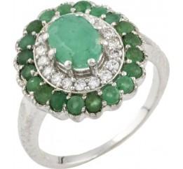 Серебряное кольцо SilverBreeze с натуральным изумрудом 2.465ct (0466385) 19 размер