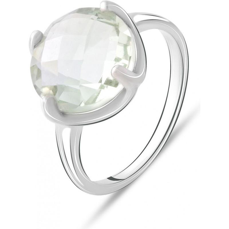 Серебряное кольцо SilverBreeze с натуральным зеленим аметистом 5.27ct (2070672) 17.5 размер