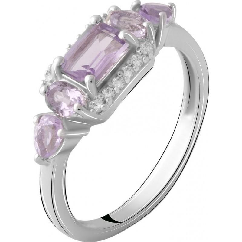 Серебряное кольцо SilverBreeze с натуральным аметистом 1.06ct (2066996) 17.5 размер