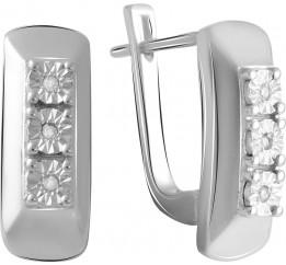 Серебряные серьги SilverBreeze с натуральными бриллиантом 0.054ct (2064213)