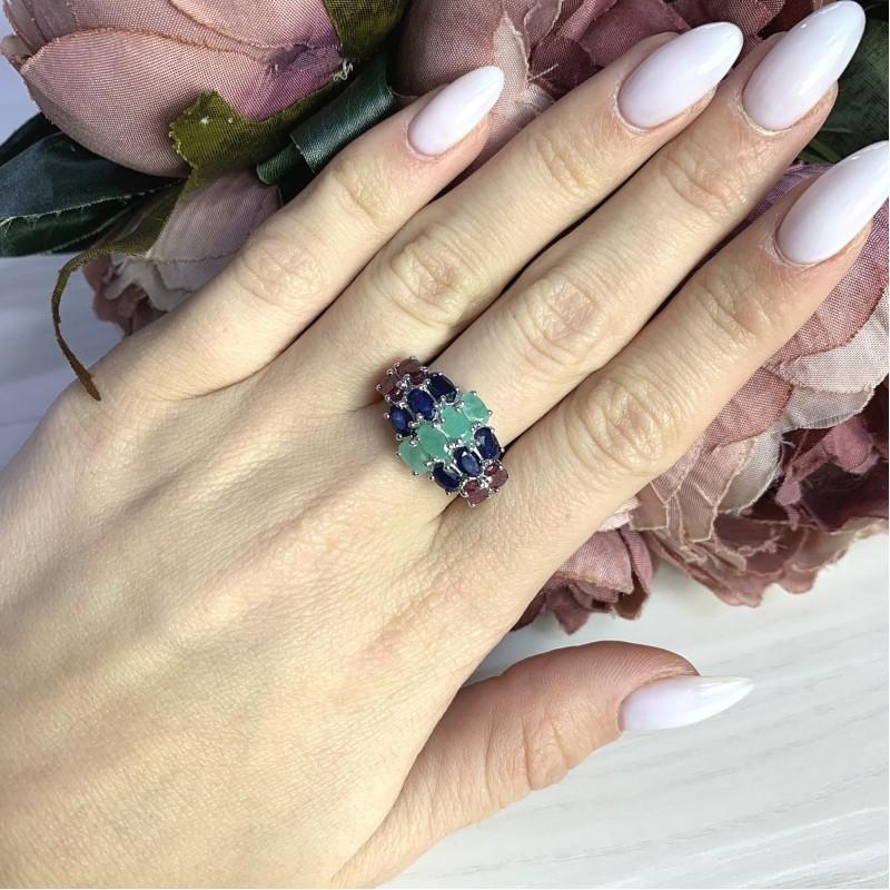 Серебряное кольцо SilverBreeze с натуральным сапфиром 3.833ct, изумрудом, рубином (2063605) 18 размер