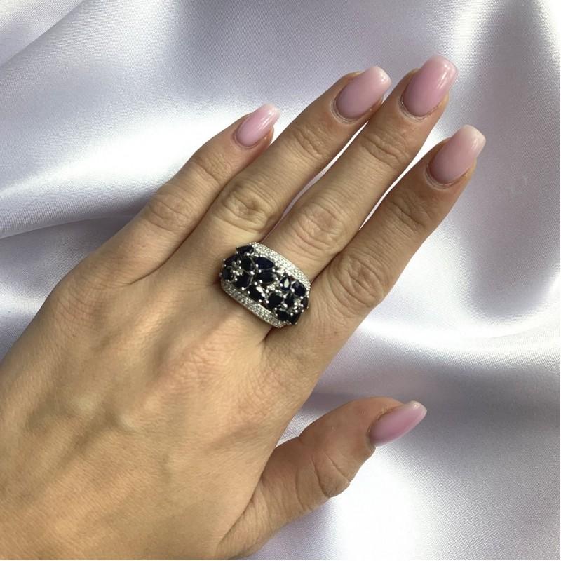Серебряное кольцо SilverBreeze с натуральным сапфиром 4.838ct (2059431) 18.5 размер