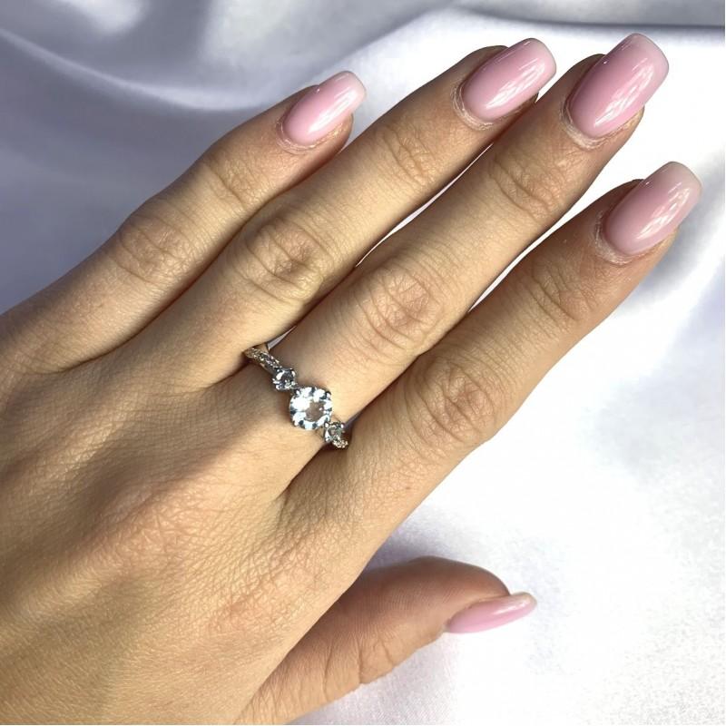 Серебряное кольцо SilverBreeze с натуральным топазом 1.37ct (2059097) 18 размер