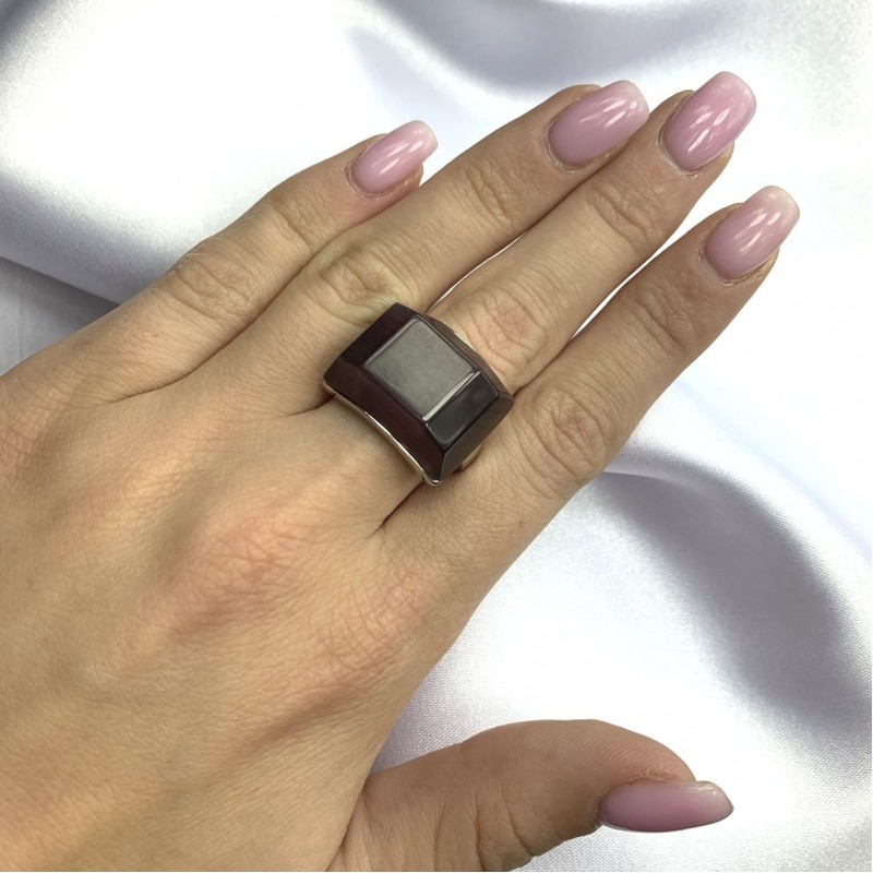 Серебряное кольцо SilverBreeze с кошачим глазом (2053880) 17 размер