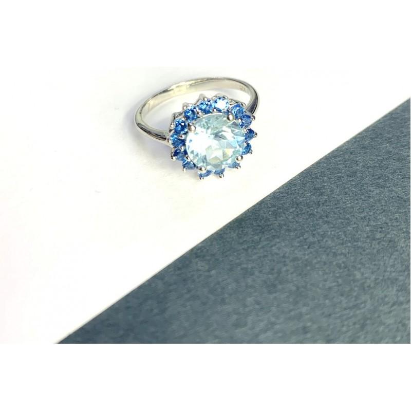 Серебряное кольцо SilverBreeze с натуральным топазом 2.38ct, аквамарином nano (2049142) 17 размер
