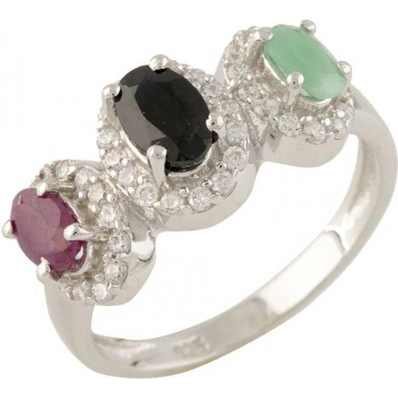 Серебряное кольцо SilverBreeze с натуральным сапфиром, изумрудом, рубином (1316818) 17 размер
